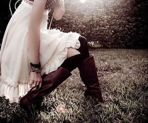 girl, boots, and dress image