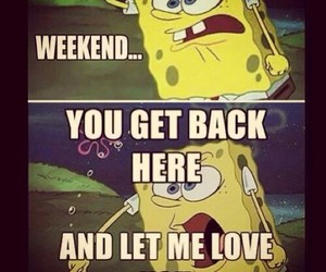 weekend, spongebob, and love image