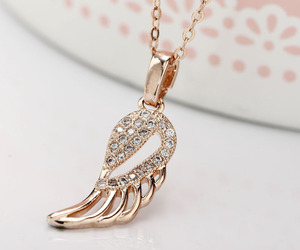 angel wing, rose gold necklace, and pendant necklace image