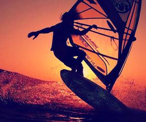 sunset, surf, and windsurf image