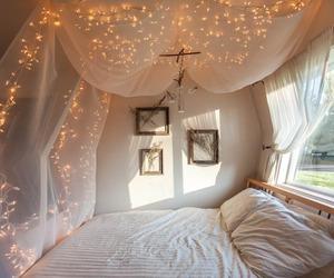bedroom decoration, garland, and lights image