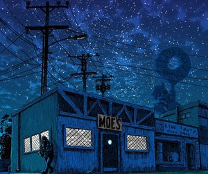 night, simpsons, and art image