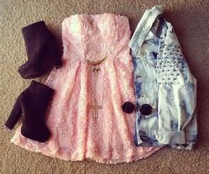 denim jacket, outfit, and pink dress image