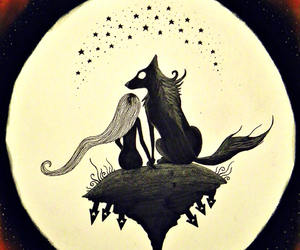 moon, wolf, and girl image