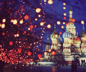 moscow, russia, and lights image