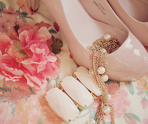 flower, pink, and shoes image