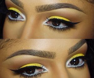 makeup, yellow, and beauty image