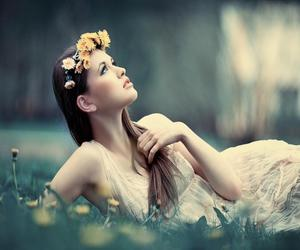 flower crown, grass, and laying down image