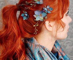 hair, flowers, and orange image