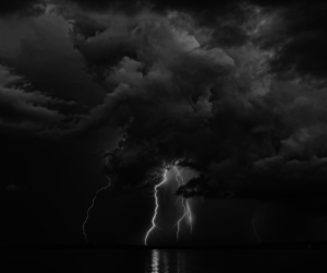 nature, sea, and thunder image