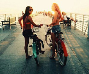 summer, friends, and bike image