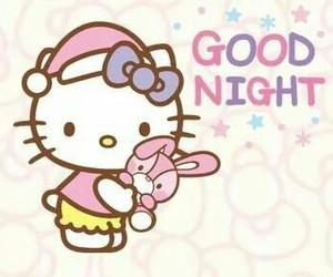 good night and hello kitty image