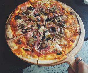 pizza, food, and fast food image
