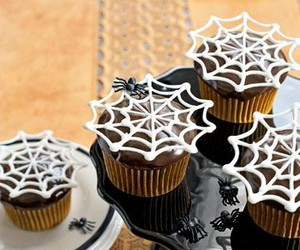 Halloween, spider, and cupcake image