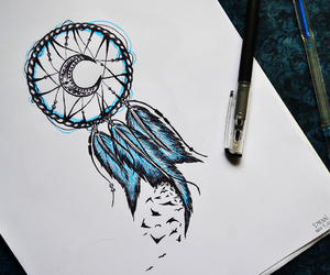 birds, dream catcher, and pen image