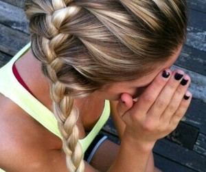 beautiful, braid, and blonde hair image