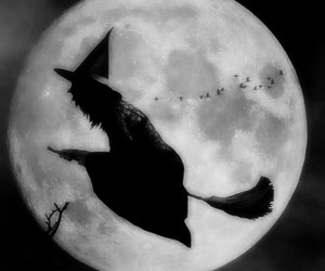 moon, witch, and black and white image