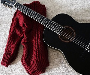 guitar, red, and sweater image