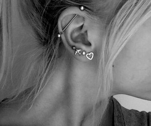 piercing, ear, and hair image
