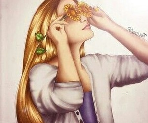 drawing, eyes, and flower image