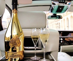 champagne, car, and drink image