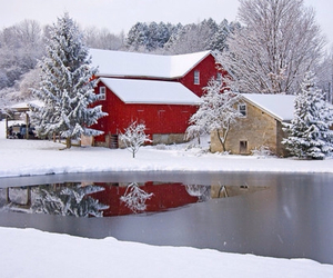 snow, winter, and barn image