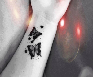tattoo, butterfly, and stars image