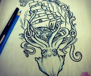 tattoo, drawing, and ship image