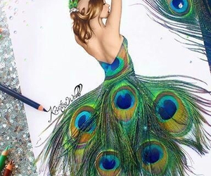 drawing, dress, and peacock image