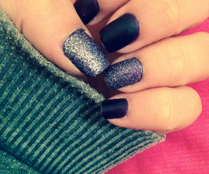 nails, paillettes, and cute image
