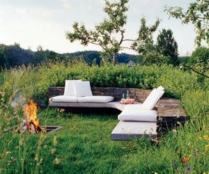 garden, fire, and flowers image