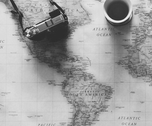 black and white, camera, and map image