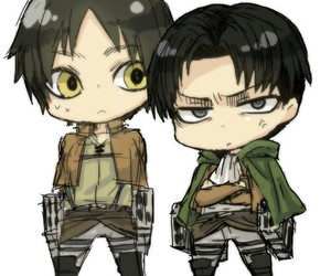 levi, eren, and attack on titan image