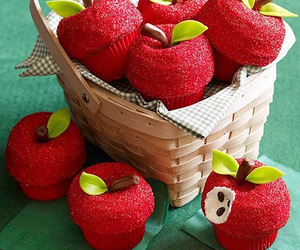 cupcake, apple, and red image