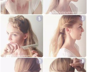 beauty, hairstyle, and chignon image