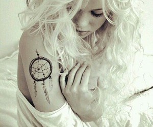 tattoo, girl, and dreamcatcher image