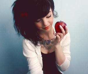 girl, apple, and tattoo image