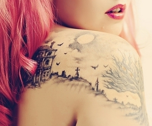 amo, lipstick, and shoulder tattoo image