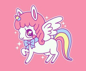 unicorn, kawaii, and pink image