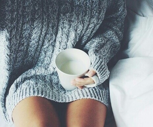 bed, jumper, and cosy image