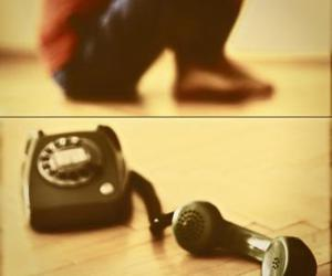 black, telephone, and lonely image