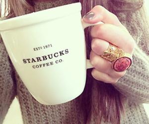starbucks, girl, and coffee image