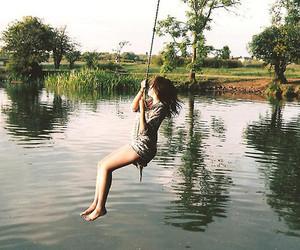 girl, lake, and water image