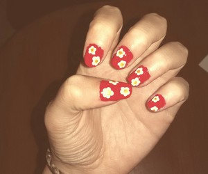 art, flower, and nail image