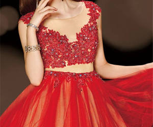 beaded, prom dress, and red image