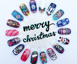 nails, merry christmas, and nail art image
