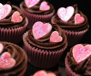 cupcake, heart, and chocolate image