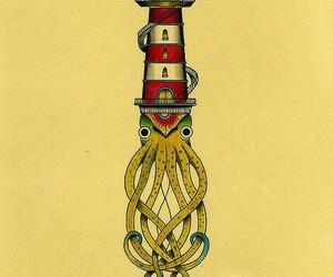 art, kraken, and lighthouse image