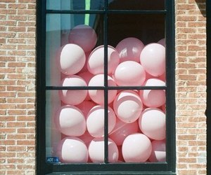 balloons, pink, and window image