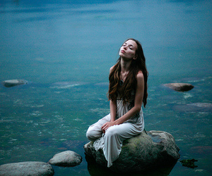 girl, blue, and water image